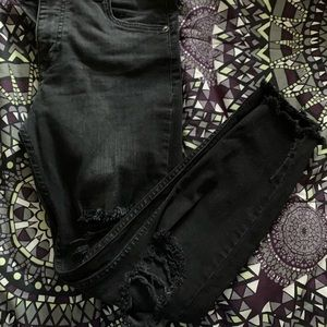 Free People ripped knee jeans size 27 in charcoal